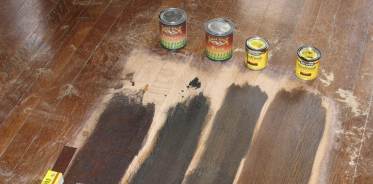 The Beautiful Finished Product! PrevNext. 1234. Refinishing Hardwood:  Testing Stain Colours